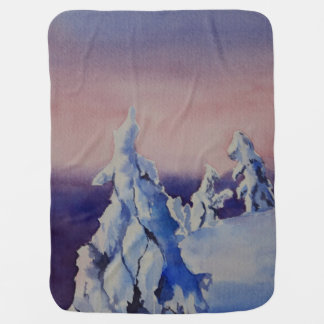Watercolor painting of winter sunset landscape swaddle blankets