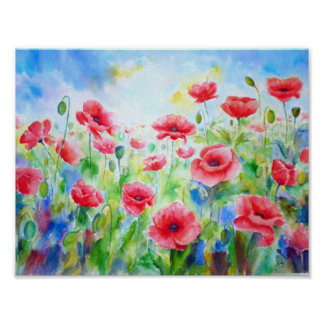Watercolor Painting Red Poppy Field Poster