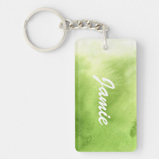 watercolor paints on a rough texture paper Double-Sided rectangular acrylic key ring