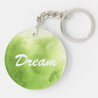 watercolor paints on a rough texture paper Double-Sided round acrylic key ring