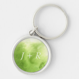 watercolor paints on a rough texture paper Silver-Colored round key ring