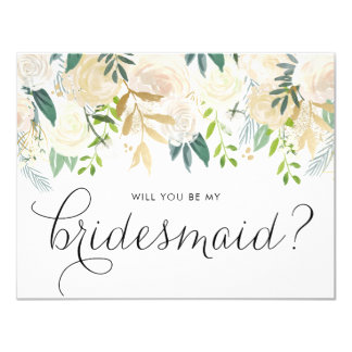 Watercolor Pale Peonies Will You Be My Bridesmaid Card