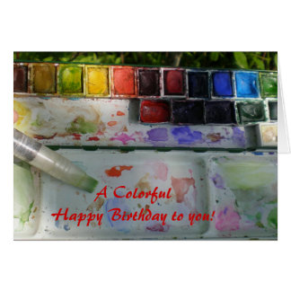 Watercolor Palette and Brush Happy Birthday Card