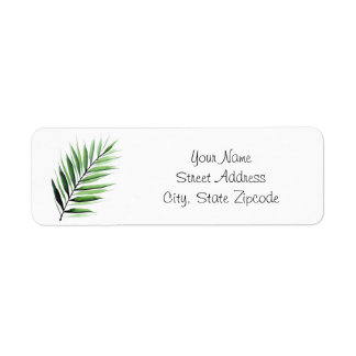 Watercolor Palm Fronds Return Address Label