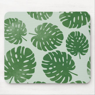 Watercolor palm leaves mouse pad