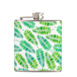 Watercolor palm leaves pattern hip flask