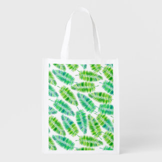 Watercolor palm leaves pattern reusable grocery bag