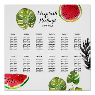 Watercolor palm leaves watermelon Seating Chart Poster