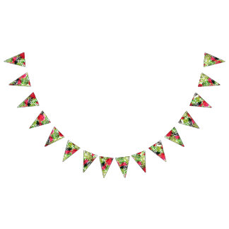 Watercolor palm leaves watermelon wedding decor bunting