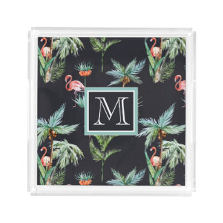 Watercolor Palm Pattern | Add Your Initial