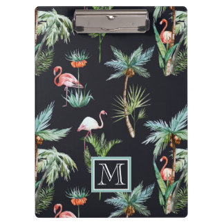 Watercolor Palm Pattern   Add Your Initial Clipboard