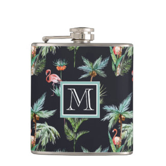 Watercolor Palm Pattern | Add Your Initial Flasks