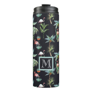 Watercolor Palm Pattern   Add Your Initial Thermal Tumbler