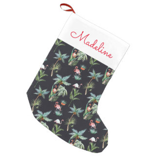 Watercolor Palm Pattern | Add Your Name Small Christmas Stocking