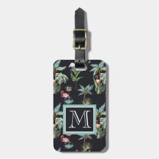 Watercolor Palm Pattern | Monogram Bag Tag