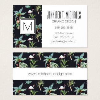 Watercolor Palm Pattern | Monogram Business Card