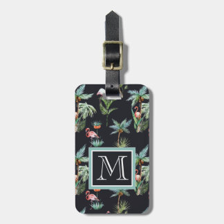 Watercolor Palm Pattern | Monogram Luggage Tag