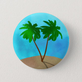 Watercolor Palm Tree Beach Scene Collage 6 Cm Round Badge