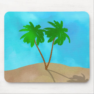 Watercolor Palm Tree Beach Scene Collage Mouse Pad