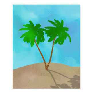 Watercolor Palm Tree Beach Scene Collage Poster