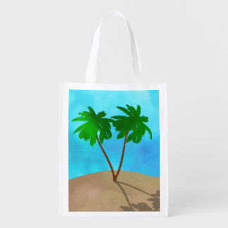 Watercolor Palm Tree Beach Scene Collage Reusable Grocery Bag