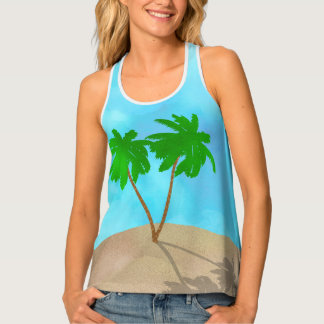 Watercolor Palm Tree Beach Scene Collage Singlet