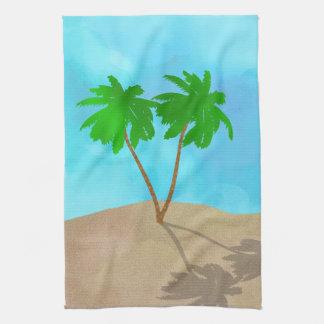 Watercolor Palm Tree Beach Scene Collage Tea Towel