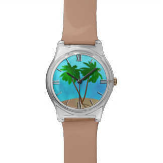 Watercolor Palm Tree Beach Scene Collage Watch
