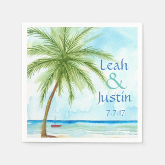 Watercolor Palm Tree Custom Wedding Napkin Disposable Napkin