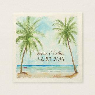 Watercolor Palm Tree Custom Wedding Paper Napkins Disposable Serviette