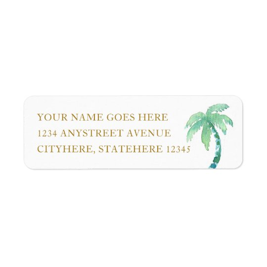 Watercolor Palm Tree for Beach Destination Wedding Return Address Label