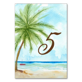 Watercolor Palm Tree Wedding Table Card
