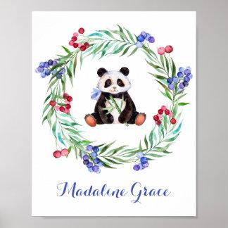 Watercolor Panda Nursery Art Poster