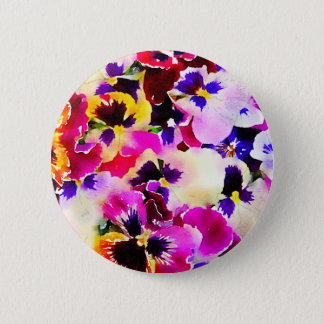 Watercolor Pansies 6 Cm Round Badge