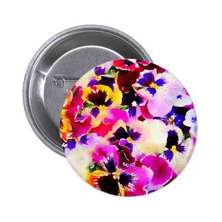 Watercolor Pansies 6 Cm Round Badge