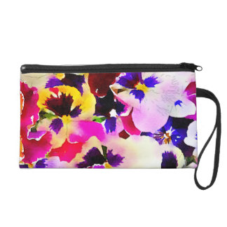 Watercolor Pansies Wristlet