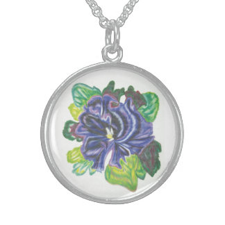 Watercolor Pansy Sterling Silver Necklace