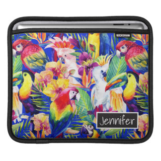 Watercolor Parrots | Add Your Name iPad Sleeves