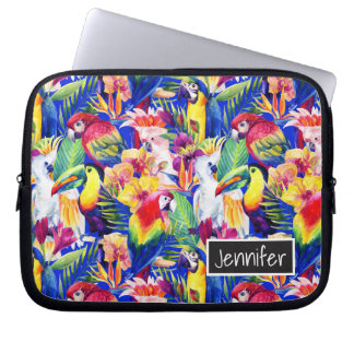 Watercolor Parrots | Add Your Name Laptop Sleeves