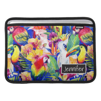 Watercolor Parrots | Add Your Name MacBook Air Sleeves