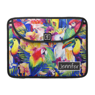 Watercolor Parrots | Add Your Name MacBook Pro Sleeves