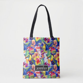 Watercolor Parrots | Add Your Name Tote Bag