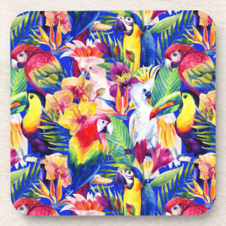 Watercolor Parrots Beverage Coasters