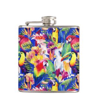 Watercolor Parrots Flask