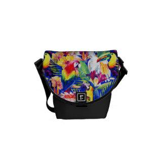 Watercolor Parrots Messenger Bags