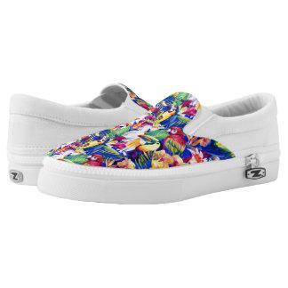 Watercolor Parrots Printed Shoes