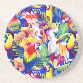 Watercolor Parrots Sandstone Coaster