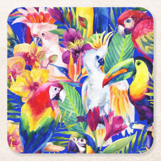 Watercolor Parrots Square Paper Coaster