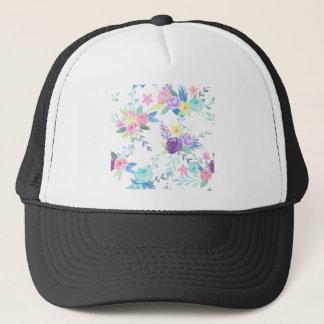 Watercolor pastel color floral pattern trucker hat