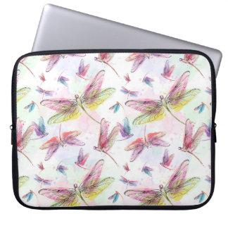 Watercolor Pastel Dragonflies Laptop Sleeve